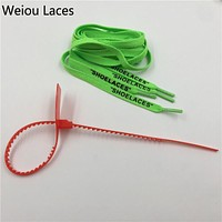 """Weiou Hot""""SHOELACES"""" Single Layer Flat Laces With Zip Tie For Replacement Off White """"The Ten"""" Handmade Custom For Sneakers Boots"""