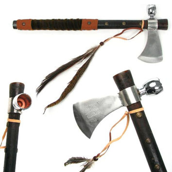 Whetstone  Tomahawk Peace Pipe Ax 19 Inches with Wood Handle