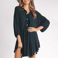 Elegant buttons chiffon dress women Casual a-line batwing sleeve office dresses lace up ladies mini vestidos