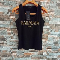 Balmain Women Simple Casual Bronzing Letter Sleeveless Cotton Vest T-shirt Tops