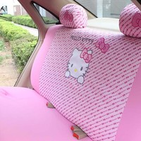 MUNIUREN Cute Pink Hello Kitty Car Rear Back Seat Cover Polyester Polka Dot Universal Seat Protective interior Accessories