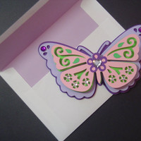 Purple Butterfly Shaped Mother's Day Card - Cards for Mom - Mother's Day