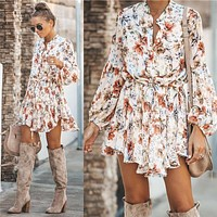 2020 autumn new product fashion floral irregular dress