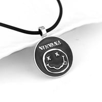 New Arrival Nirvana Necklace Latest Rock And Roll Band Series Jewelry Smile Face Logo Rope Chain Necklace For Men And Women