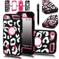 iPod Touch 5 Case, E LV iPod Touch 5 Case - Hard and Soft Hybrid Armor Defender Sports Combo Case for Apple iPod Touch 5 iTouch 5th Generation with 1 Screen Protector, 1 Black Stylus, 1 Water Resistant Bag and 1 E LV Microfiber Digital Cleaner (Leopard Hot