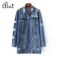 2017 Spring New Arrival Women Outerwear Denim Jacket Washing Hole Long Sleeve Fashion All-match Women Autumn Base Jacket Coat