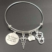 Nurse Charms Stainless Steel Expandable Wire Bangle