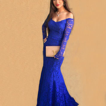 Long Sleeve Royal Blue Lace Prom Dresses