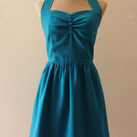 Teal Cocktail Dress Teal Tea Dress Party Dress Vintage Inspired Dress Teal Bridesmaid Dress Once Upon A Time -Size XS-XL,Custom