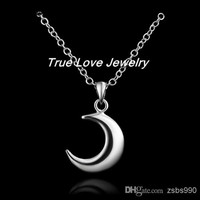 2014 New 925 sterling silver moon pendant necklace fashion jewelry cute wedding gift for women free shipping