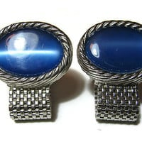 Large Vintage Faux Cats Eye Cuff Links Blue Silver Tone Cufflinks with Mesh Mens Retro Groovy Hipster Jewelry Guys Gift