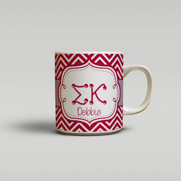 SIGMA KAPPA - THIN CHEVRON LAVENDER AND MAROON - SORORITY COFFEE MUG