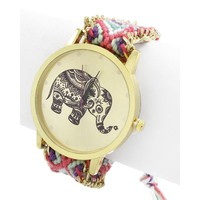 Multi Color and Gold Elephant Watch