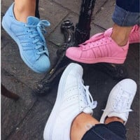 """""""Adidas"""" Fashion Shell-toe Flats Sneakers Sport Shoes Pure color Blue"""