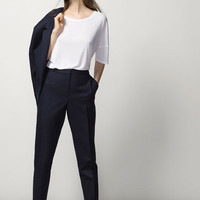 NAVY BLUE STRUCTURED SUIT TROUSERS - Trousers & Denim - WOMEN - España (Excepto Canarias)/Spain (except the Canary Islands)