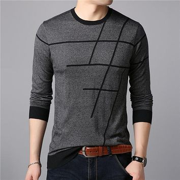 Sweater Men Casual Striped O-Neck Pullover Men Clothes Autumn New Arrivals Pull Homme Plus Size Thin Sweaters