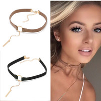 Punk 4 Colors Leather Choker Necklace Gold Plated Geometry With Round Pendant Necklace