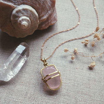 dainty rose quartz necklace • small rose quartz pendant necklace - caged crystal necklace - witch jewelry - love crystal