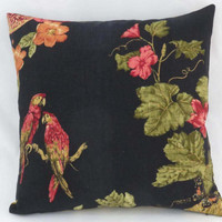 "Scarlet Macaw Pillow on Black Linen, Tropical Waverly Print, Fruit and Flowers, Red Green Gold Orange, 17"" Sq, Cover Only or Insert  Incl."