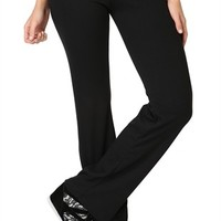 Flare Yoga Pants with Baroque Print Fold Over Waistband