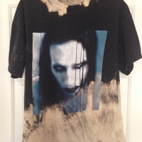 Marilyn Manson Hand bleached tie dyed shirt soft grunge