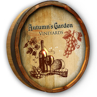 Personalized Autumn Garden Quarter Barrel Sign
