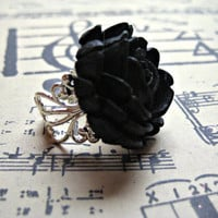 Large Black Ring Rose on Filigree Vintage Victorian by RandisRoom