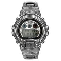 Black G-Shock Watch Fully Iced Out White Simulated Diamonds Mens DW6900