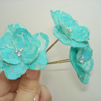 Teal Turquoise Lace  Wedding Hair  Pins Small  Bridal Hair Flowers Wedding Hair Piece Handmade