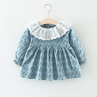 2017 Autumn Infant Dress Cotton Long Sleeve Baby Dress Peter Pan Collar Toddler Girls Dresses Fashion Baby Clothes