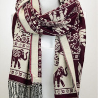 Ethnic Inspired Fringe Elephant Scarf-Burgundy, Teal or Black