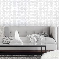 Loom Wallpaper in White & Very Light Gray