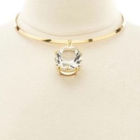 Oversized Diamante Choker Necklace by Charlotte Russe - Gold