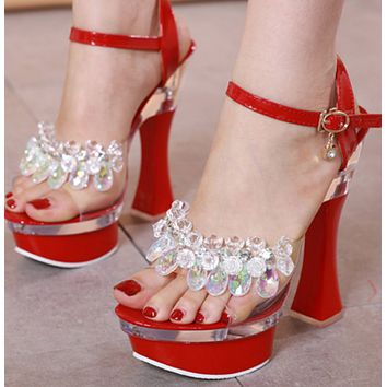 Explosive hot selling glass rhinestone thick heel wedge sandals and slippers shoes