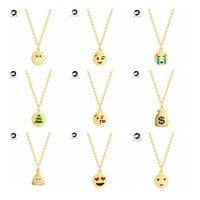 QIMING 2017 Lovely Emoji Gold Necklace Smile Love Kiss Cry Weep Facial Expression Cute Jewelry Round Baby Necklace Women Gift