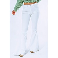 Wanna Have Fun Flare Jeans: White