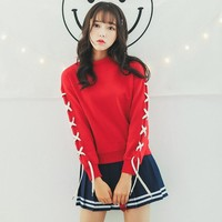 2017 New Autumn Women Bandage Long Sleeve Hoodies Korean Cute O-Neck Pullovers Sweatshirt Girls Red Casual Tracksuits