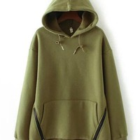 Women Split Zippers Hooded Pull-over Thicken Hoodies