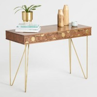 Wood Hexagon and Gold Inlay Hairpin Natasha Desk
