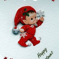 Christmas Card - Happy Christmas Hand-Crafted 3D Decoupage Card - Happy Christmas (1789)