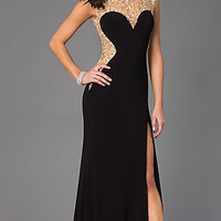 Madison James Long Prom Dress with Open Back
