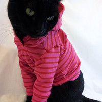 CoolCats Cat Hoodie Hot Pink with Red Stripes