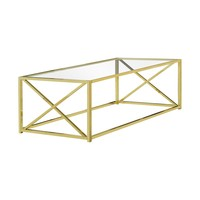 """Coffee Table - 44""""L / Gold Metal With Tempered Glass"""