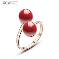 Double Ball Ring Adjustable Rose Gold Color