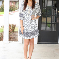Long Weekend Dress - Navy and Ivory