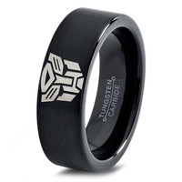 Transformers Autobot Ring Mens Fanatic Geek Sci Fi Jewelry Boys Girls Womens Superhero Transformers Ring Fathers Day Gift Tungsten Carbide 63