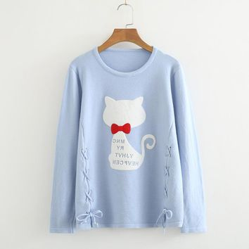 Long-sleeved round collar cartoon pattern joker sweater pullover to show a thin base sweater