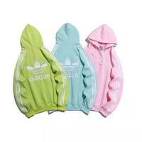 """Adidas "" Casual Fashion Letter Solid Color Pattern Long Sleeve Hooded Sweater Women Hoodie Tops"