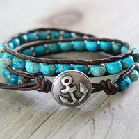 Anchor Bracelet - Leather Beaded Wrap Bracelet - Nautical Jewelry - Surfer Chic Jewelry - Sea Life Bracelet