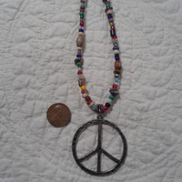 Tibetan Silber Large Peace Sign Handmade Beaded Necklace Hippie Boho Childrens Jewelry Hippie Style Jewelry Costume